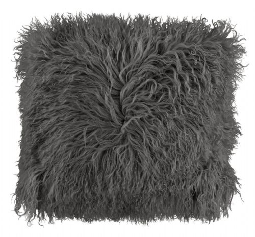 LUXURY FURRY MONGOLIAN SHAGGY FUR SUPER SOFT CUSHION COVER CHARCOAL COLOUR